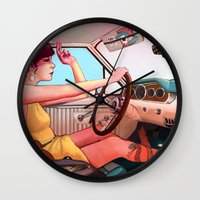 smoking Wall Clocks featuring The Getaway by Rudy Faber