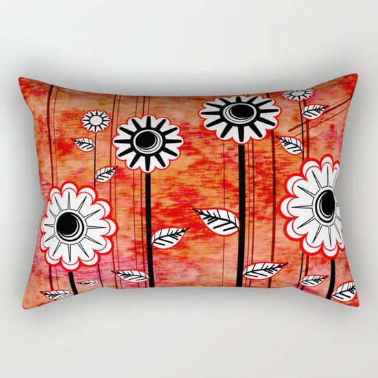 Retro Flowers on textured red Rectangular Pillow