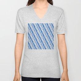 Candy Cane Blue Stripes Holiday Pattern Unisex V-Neck