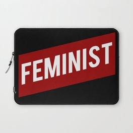 FEMINIST RED WHITE BANNER Laptop Sleeve