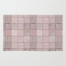 Romantic Pink Damask Patchwork Pattern Rug