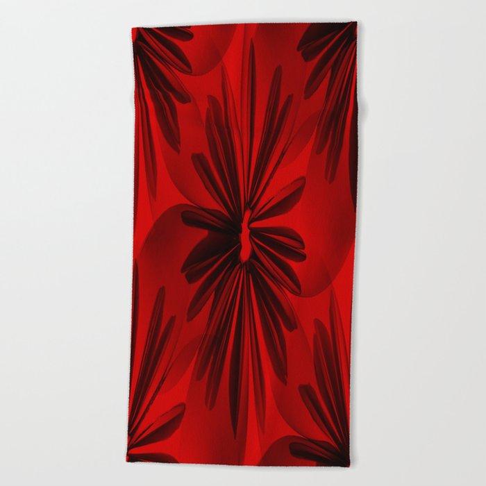 Red Origami Flowers #decor #society6 Beach Towel