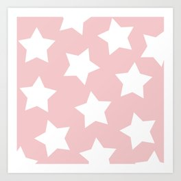 Happy Pink Star Print Art Print