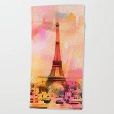 Paris Eifel Tower Abstract Art Illustration pink orange yellow Beach Towel