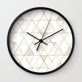 Mod Triangles Gold and white Wall Clock