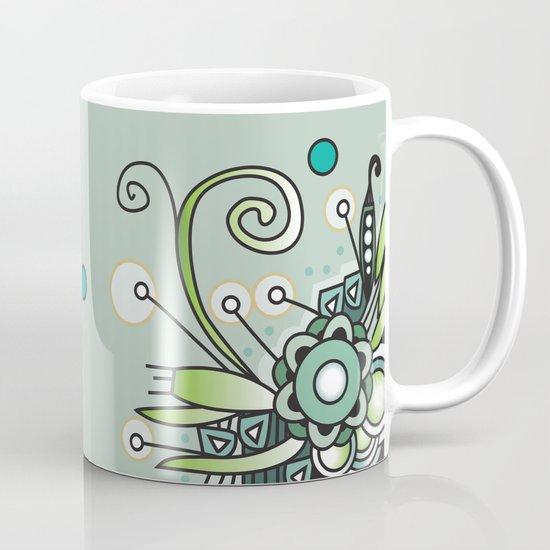 Ornate square zentangle, Jade Color Mug