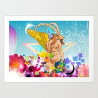 baphomet Art Prints featuring Baphomet by rodalume