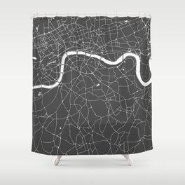 Gray on White London Street Map Shower Curtain