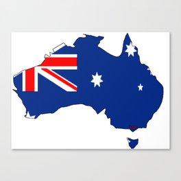 Australia Map with Australian Flag Canvas Print