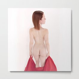 1641s-MM High Key Art Nude Model Megan's Beautiful Back Metal Print