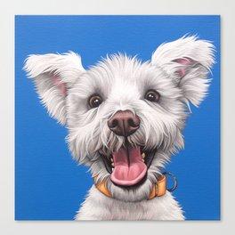 Joyful White Puppy Dog, Smiling Dog Portrait, Sweet Dog Wall Art Canvas Print