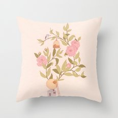 RoseBird Throw Pillow