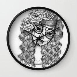 JennyMannoArt Graphite Illustration/Dias de los Muertos Wall Clock