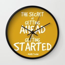 Secret to Getting Ahead Quote - Twain Wall Clock