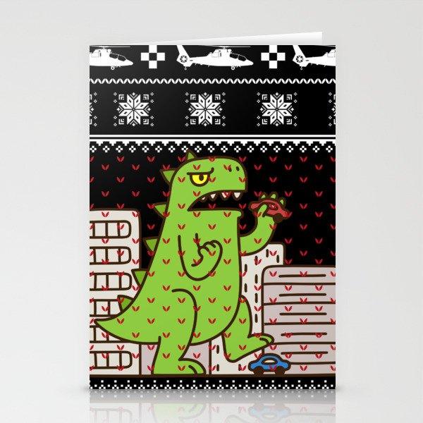 godzilla ugly christmas stationery cards