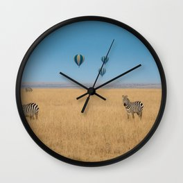 Zebras and baloons Wall Clock