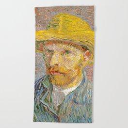Self-Portrait with a Straw Hat - Vincent Van Gogh Beach Towel