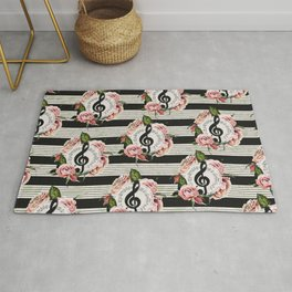 Musical Treble Clef with Watercolor Roses Pattern Rug