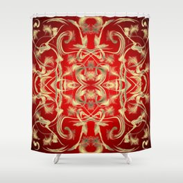 gold Digital pattern with circles and fractals artfully colored design for house and fashion unique Shower Curtain