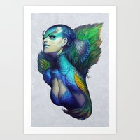 artgerm Art Prints featuring Peacock Queen by Artgerm™
