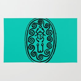 Ancient Egyptian Amulet Turquoise Blue Rug
