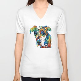 Colorful Great Dane Art Dog By Sharon Cummings Unisex V-Neck