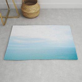 Minimal Turquoise Light Blue Ocean & Sky Landscape Rug