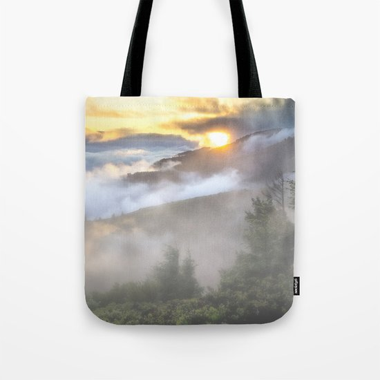 Sunrise and Dust - Mountains - Forest - Wood - Trees - Fog Tote Bag