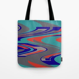 Turquoise Wave Graphic with Blue and grey Tote Bag