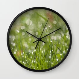 Fresh green meadow - Green grass with waterdroplets sparkling in the sun on #Society6 Wall Clock