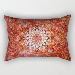 Sunburst antique rug - rich reds and blues Rectangular Pillow
