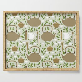 Seamless pattern with items for traditional Chinese tea drinking Pin Cha. The kettle, gaiwan and the green tea leaves. Serving Tray