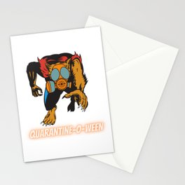 Quarantine-O-Ween Werewolf Lupine Lovers Funny Halloween Costume Funny Lycan Halloween Gift Wolf Stationery Cards
