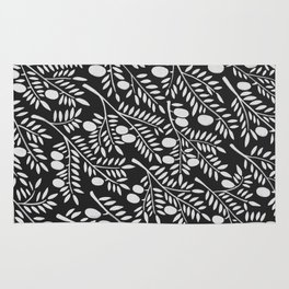 White Olive Branches Rug