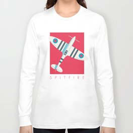 Spitfire WWII Fighter Aircraft - Stripe Crimson Long Sleeve T-shirt