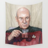 picard Wall Tapestries featuring Captain Picard Earl Grey Tea | Star Trek Painting by Olechka