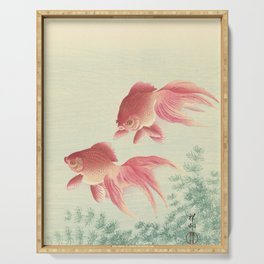 Goldfish - Vintage Japanese Woodcut Serving Tray