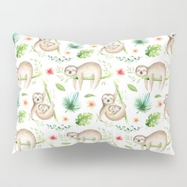 Modern hand painted green brown watercolor tropical floral sloth Pillow Sham