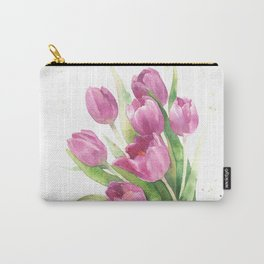 Watercolor bouquet of pink tulips Carry-All Pouch