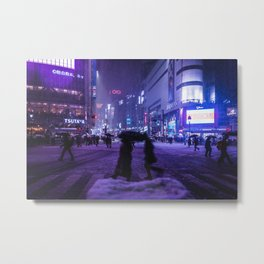 Snowy night at Shibuyacrossing Metal Print