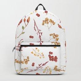 Hand painted burgundy orange yellow watercolor berries leaves Backpack