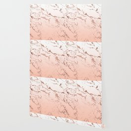 Pink blush white ombre gradient rose gold marble pattern Wallpaper