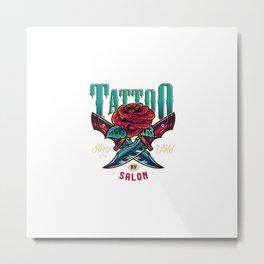 Vintage Tattoo Studio Colorful Logo Metal Print