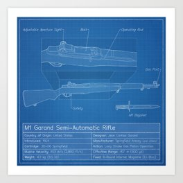 M1 Garand Blueprint Art Print