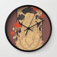 art nouveau Wall Clocks featuring Art Nouveau by Tshirt-Factory