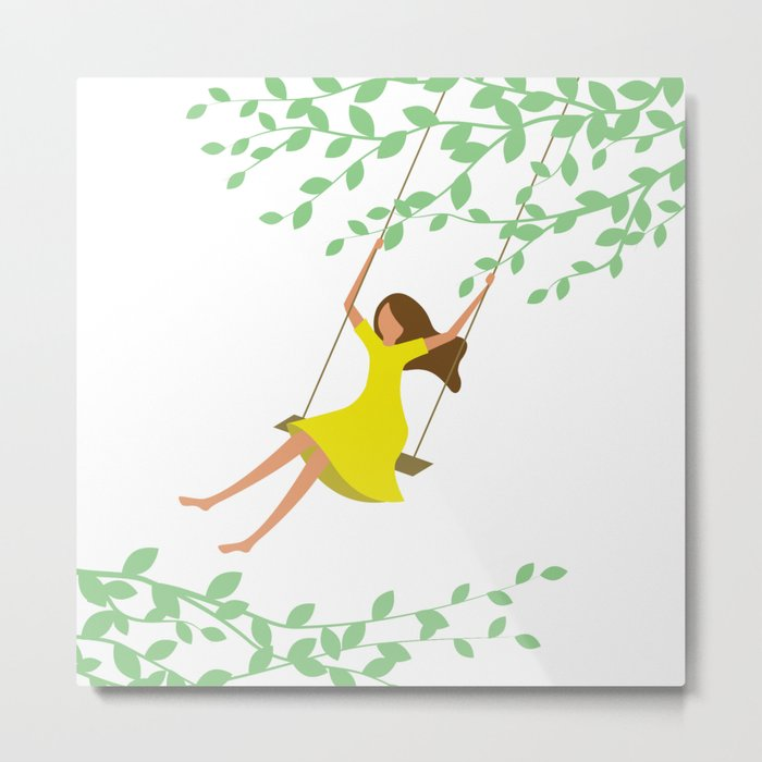 Happy times. Little girl in bright yellow dress on the tree swing. Metal Print