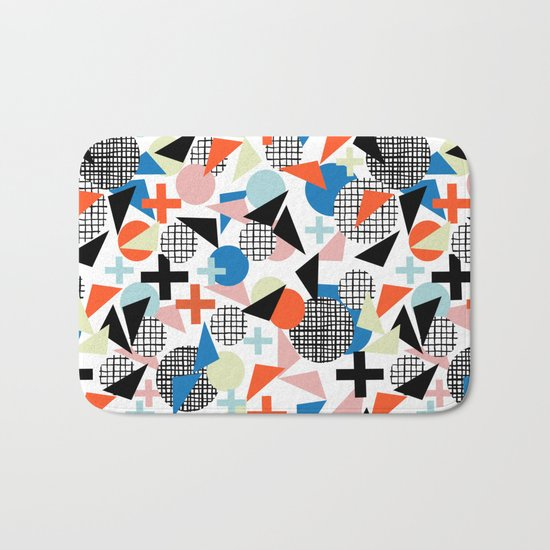 Kimbah - abstract art print shapes modern geometric retro cool colorful hipster gift idea dorm room  Bath Mat