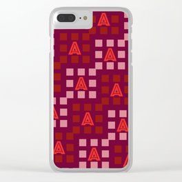 Letter A Square Pattern Clear iPhone Case