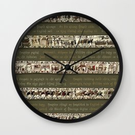 Bayeux Tapestry on Army Green - Full scenes & description Wall Clock