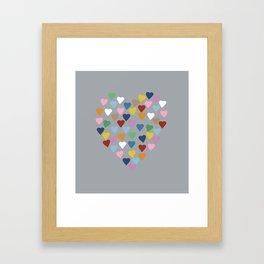 Hearts Heart Multi Grey Framed Art Print